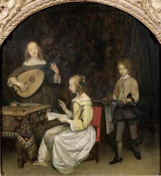 O Cantor de Concertos e Theorbo Jogador - Gerard Terborch ~ Pintor Barroco ~ Holandês
