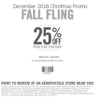 free Aeropostale coupons december 2016