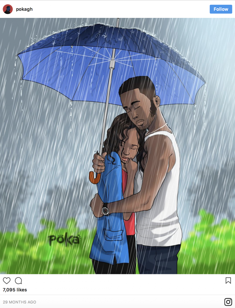 12 Beautiful Illustrations By Ghanaian Artist That Portray The Ups And Downs Of A Relationship - Gloomy, rainy and stressful days are also part of every relationship.