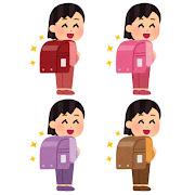 いろいろなランドセルを背負う小学生のイラスト(女の子)