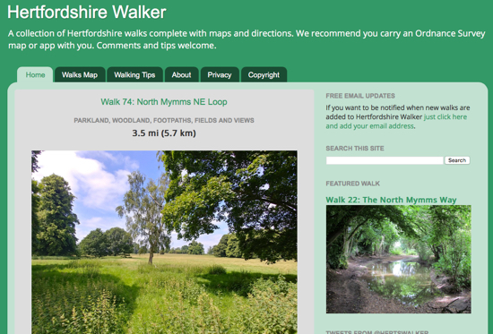 Screen grab of the Hertfordshire Walker site