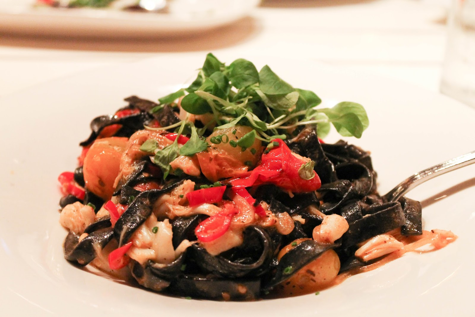 the hampton social chicago squid ink linguine
