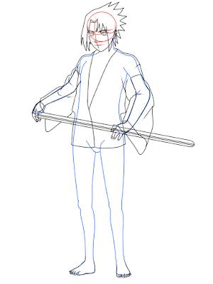 cara menggambar Sasuke Hebi tahap 14