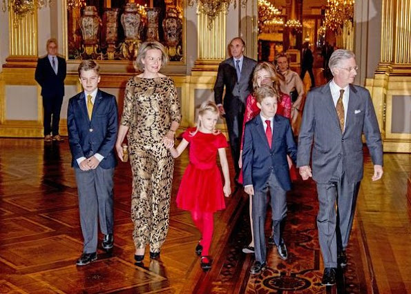 King Philippe, Queen Mathilde and their children Crown Princess Elisabeth, Prince Gabriel, Prince Emmanuel and Princess Eleonore