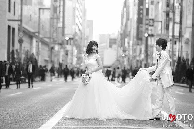 銀座通りでの結婚式ロケーション撮影