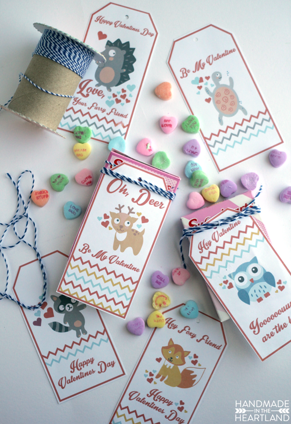 valentine tags with woodland animals
