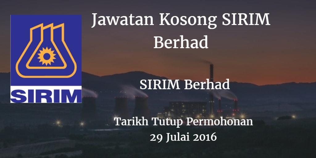 Jawatan Kosong SIRIM Berhad 29 Julai 2016