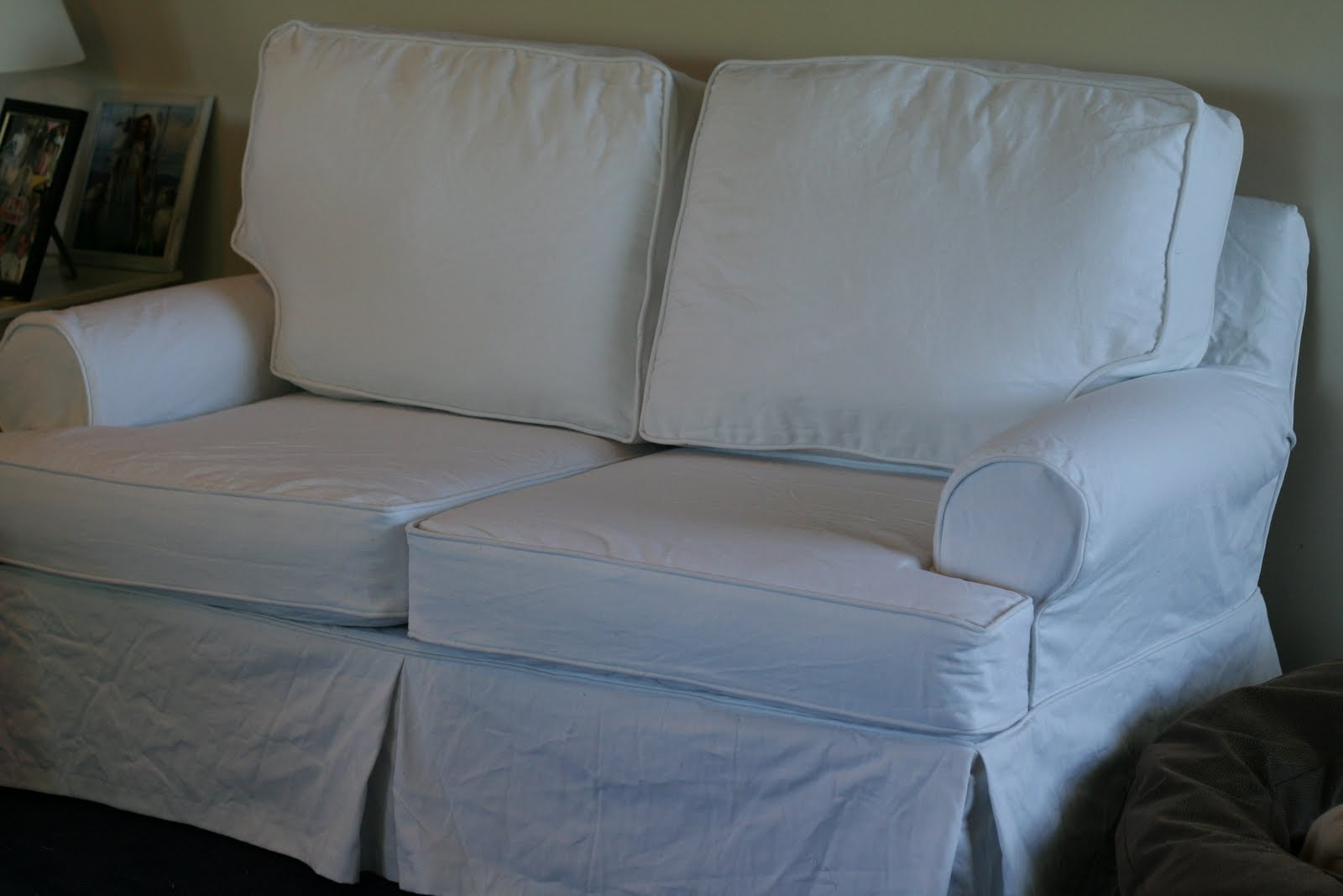 blue sofa white piping beds austin tx custom slipcovers by shelley couch and loveseat