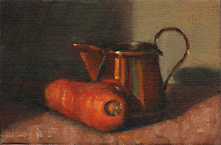 Oil painting of a small copper jug beside an orange carrot.