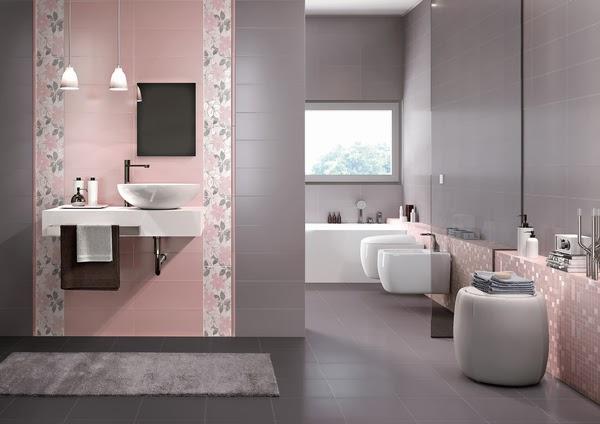 Ba os en rosa y gris colores en casa for Productos para el hogar y decoracion