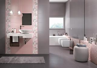 Baño color rosa y gris