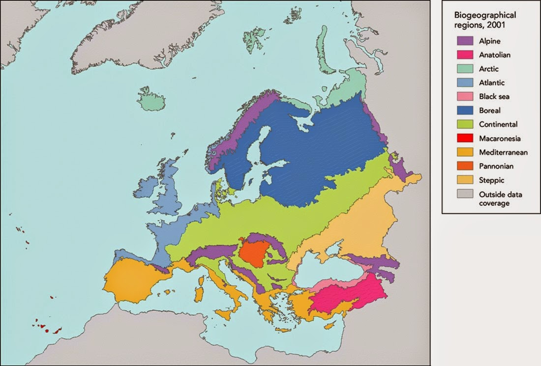 Map of climate zones in Europe showing climate classification type.