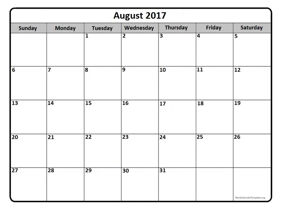 Free Printable Calendar: Free Printable Calendar August