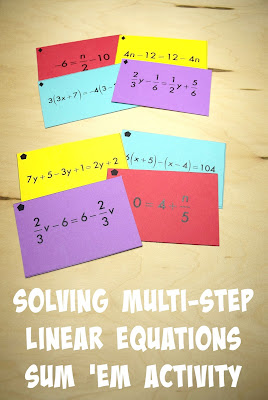 Multi-Step Linear Equations Sum Em Activity by Mrs E Teaches Math