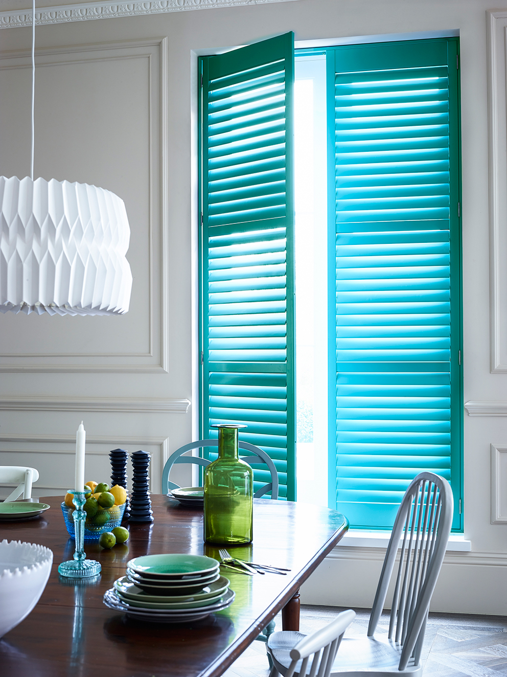 Shutterly Fabulous - French For Pineapple Blog - full length aqua shutters in dining room