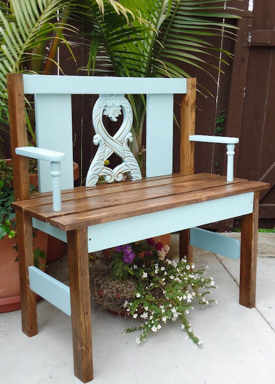Garden Bench using old chair remnants - SOLD