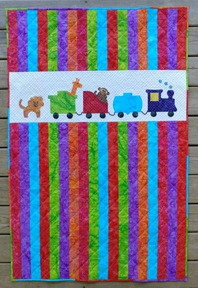 Row by Row On the Go zoo animals and train baby quilt