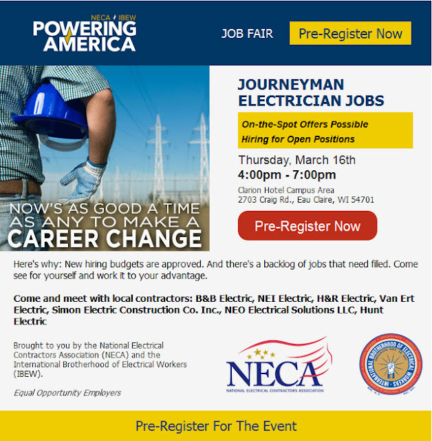 Electricians, hiring on the spot! Pre-register for March 16 Job Fair in Eau Claire.