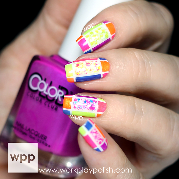 Color Club Poptastic and Poptastic Remix Collection Color Block Nail Art