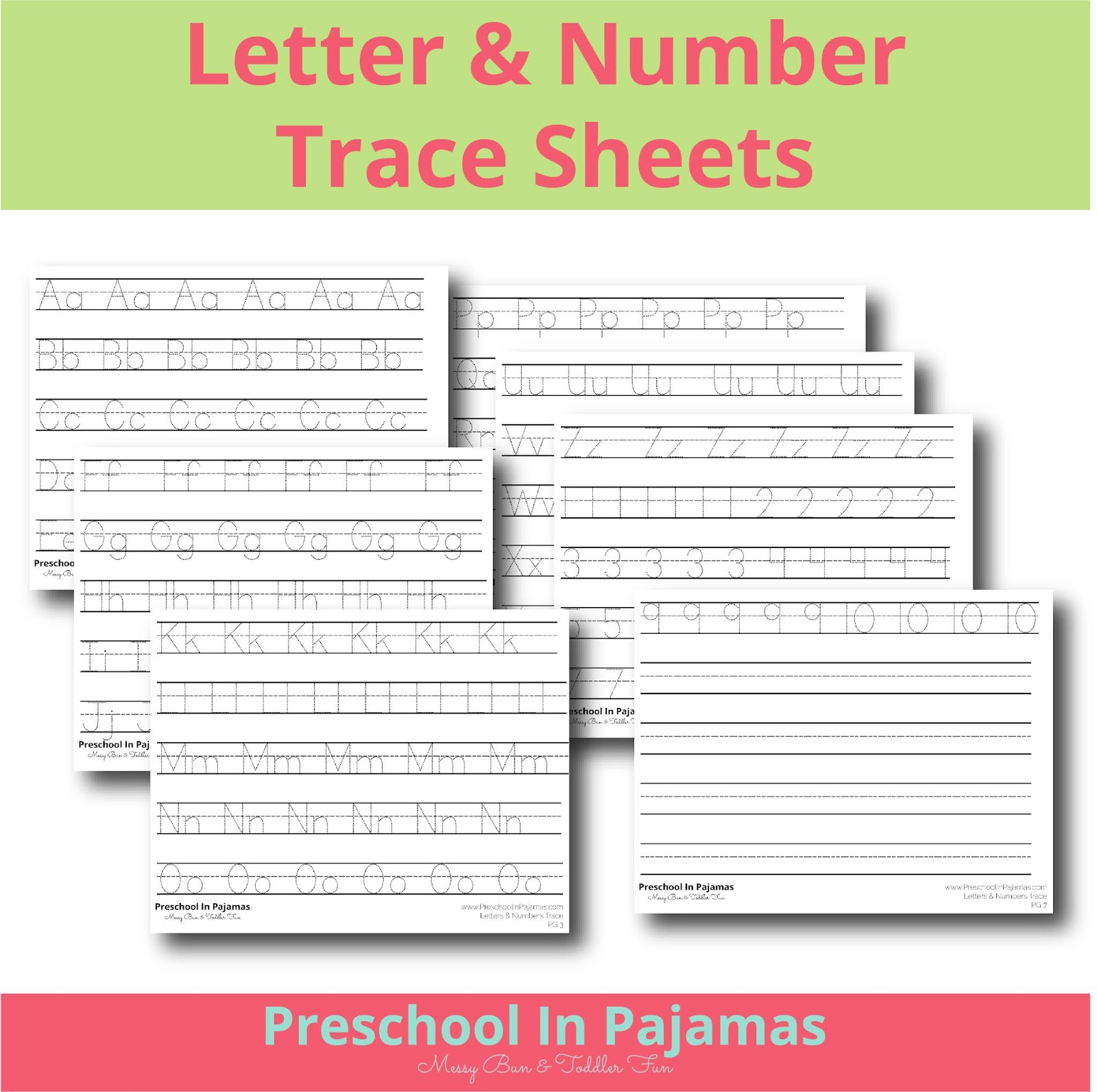 Free Letter Amp Number Trace Sheet Printable Set