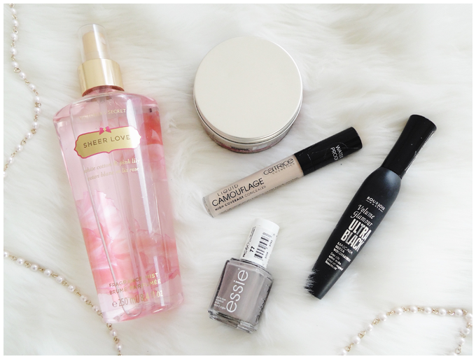 favorite five beauty products | February 2016| victoria's secret sheer love fragrance mist, schwarzkopf ultime crystal shine wax, bourjois volume glamour mascara, catrice liquid camouflage, essie chinchilly | more details on my blog http://junegold.blogspot.de | life & style diary from hamburg | #beauty #victoriassecret #essie #catrice #bourjois #schwarzkopf  #fragrancemist #hairwax #mascara #camouflage #nailpolish