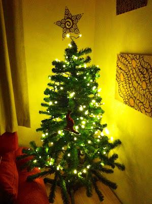 Christmas tree with lights and one decoration - a kangaroo