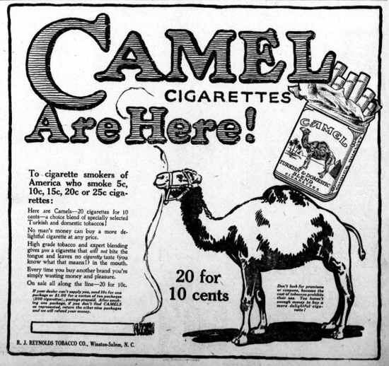 Camel advertising May 22, 1914