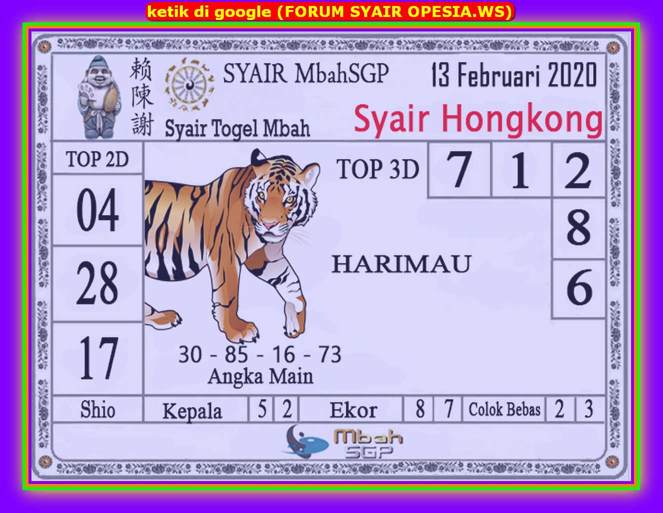 Kode syair Hongkong Kamis 13 Februari 2020 102