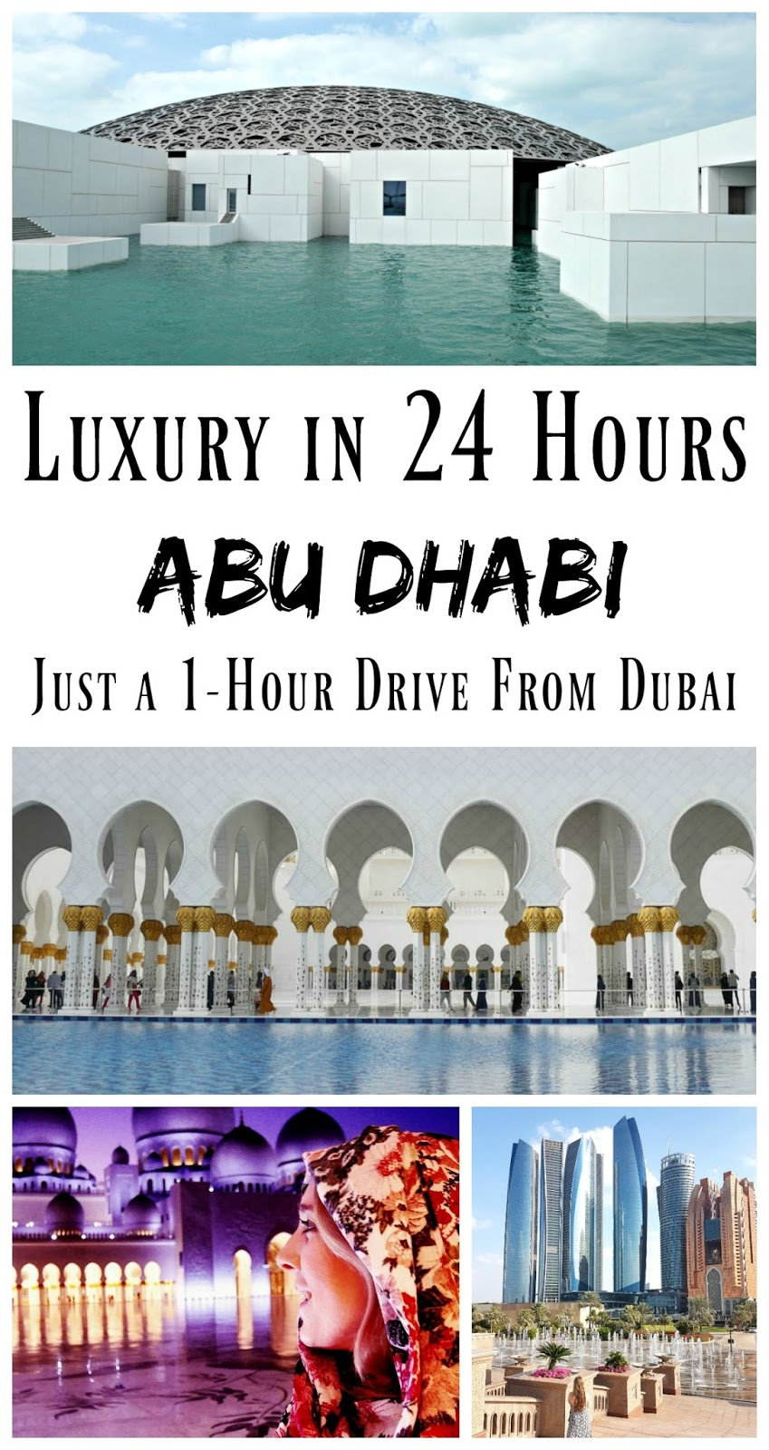 PIN FOR LATER: Spend a luxury 24 hours in Abu Dhabi, in the United Arab Emirates. Home to the Sheikh Zayad Mosque and Louvre museum, it's just a one hour drive from Dubai, so makes the perfect day trip or one-night stopover while your visiting Dubai.