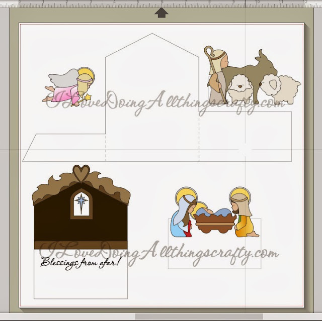 Print and Cut Nativity Scene Tri-fold Card | SVGCuts Files