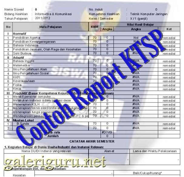 Contoh Format Raport KTSP Tahun 2017/2018
