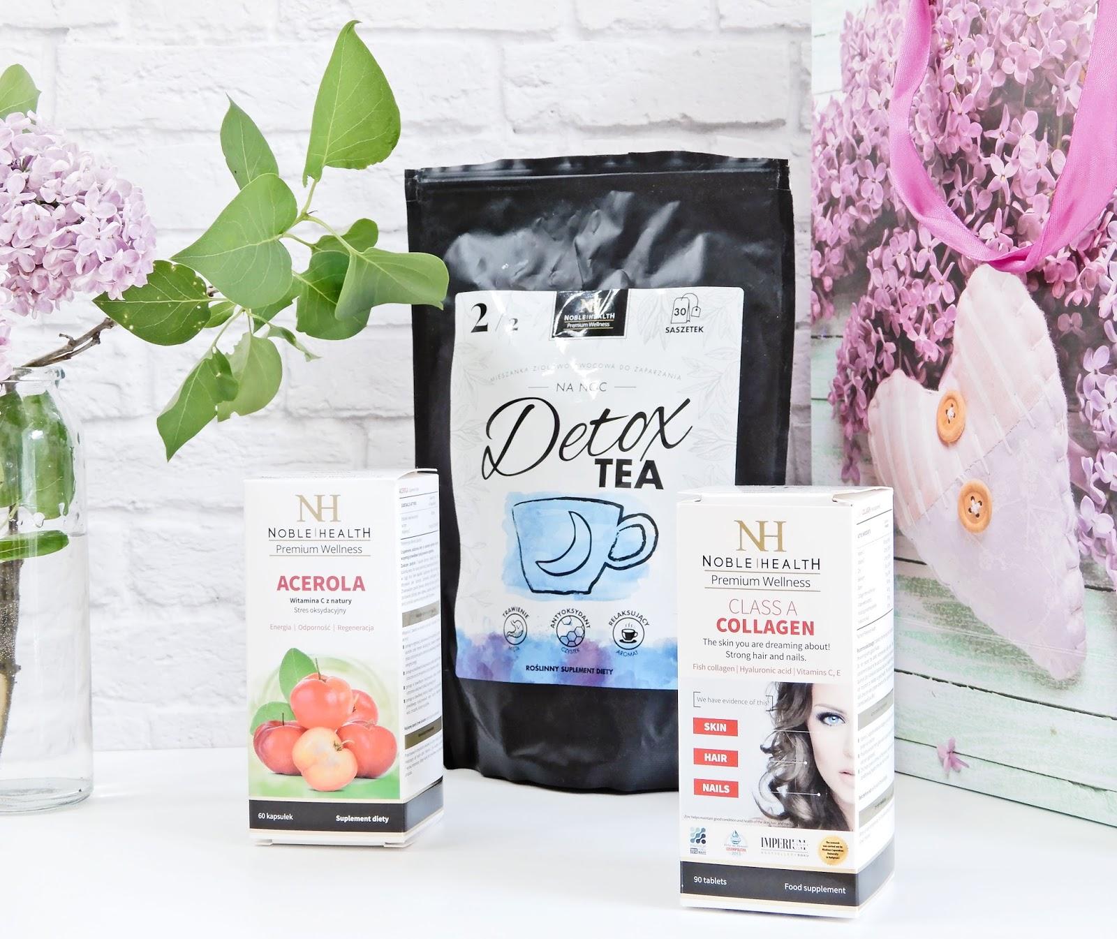 Noble Helth herbatka Detox, Noble Helth  tabletki wzmacniające skórę włosy i paznokcie CLASS A COLLAGEN, Noble Helth suplement diety Acerola, Noble Helth,