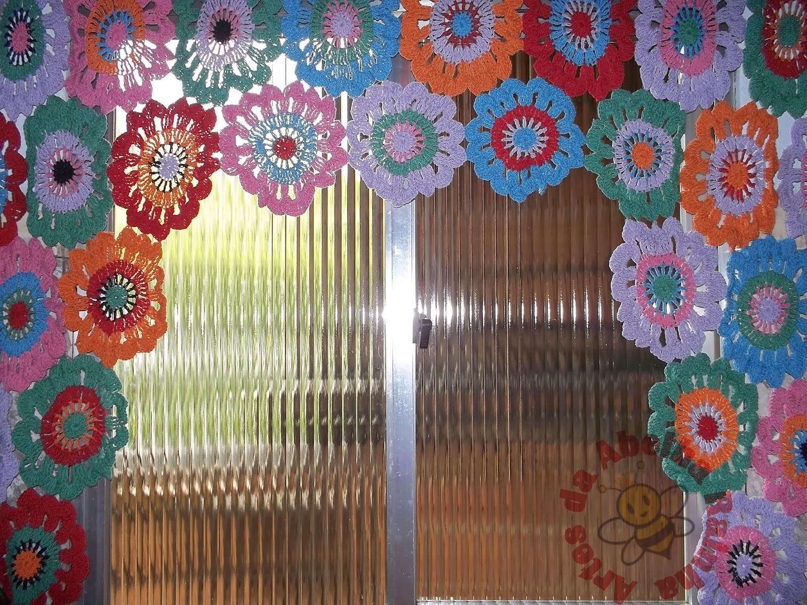 Artes Da Abelha Rainha Cortina De Cozinha De Croch De Flores