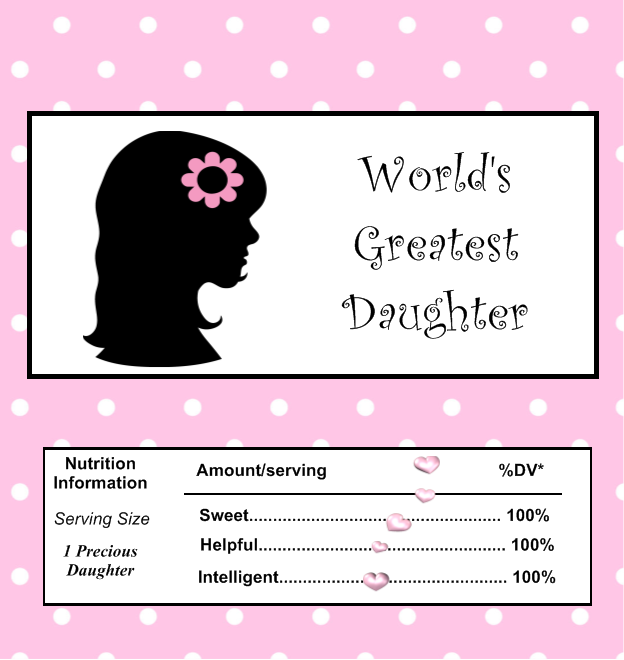 Free Printable Chocolate Wrappers for a Special Daughter.