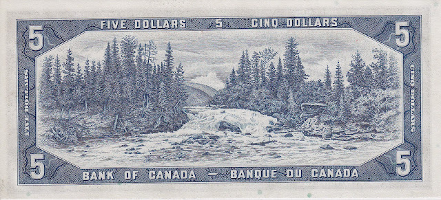 Canada money currency 5 Dollars banknote 1954 Otter Falls on the Aishihik River, Yukon