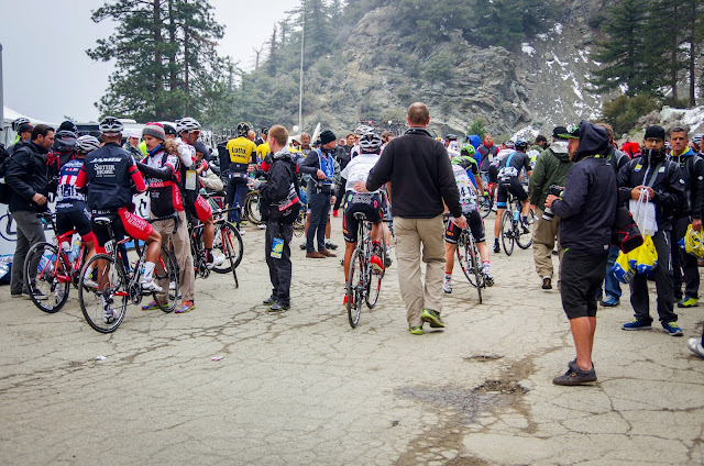 Riders arrive at Mt Baldy in 2015 ATOC