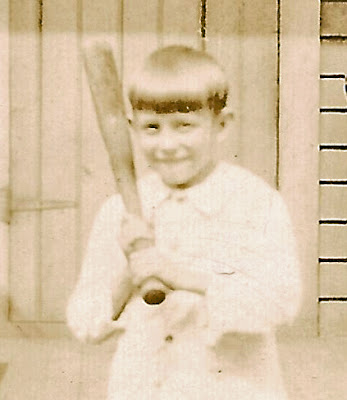 This is a cropped closeup from a larger photo. Unidentified boy playing ball. He may be associatied with the Karvoius family of Elizabeth, NJ. Probably taken in the 1920's. Collection of E. Ackermann.