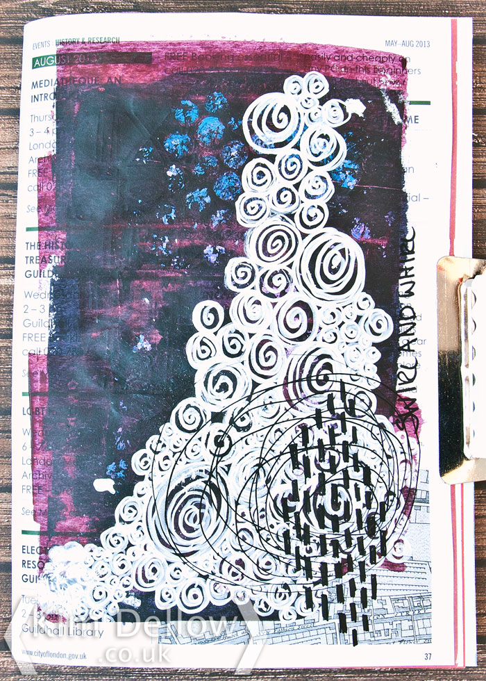 Kim Dellow Art Journal page swirls