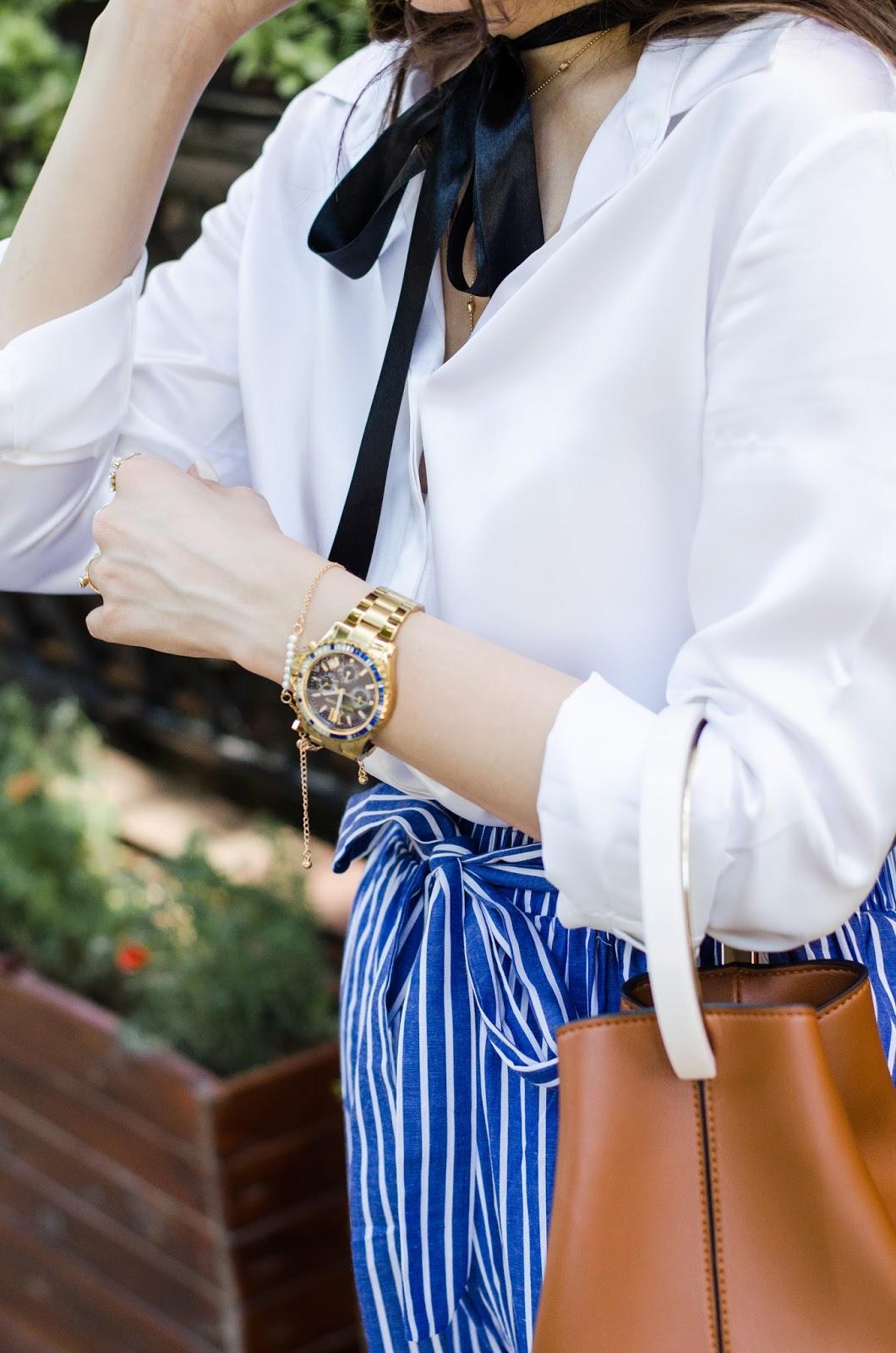 fashion blogger diyorasnotes diyora beta striped pants white shirt silk lilysilk oversized hat casual look outfitoftheday