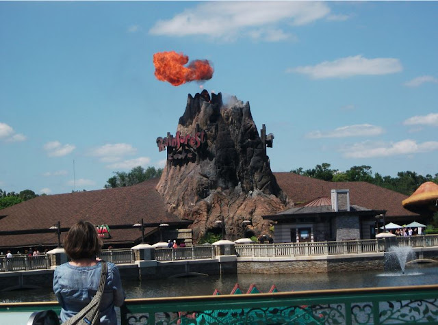 The Rainforest Cafe volcano erupting Disney Springs