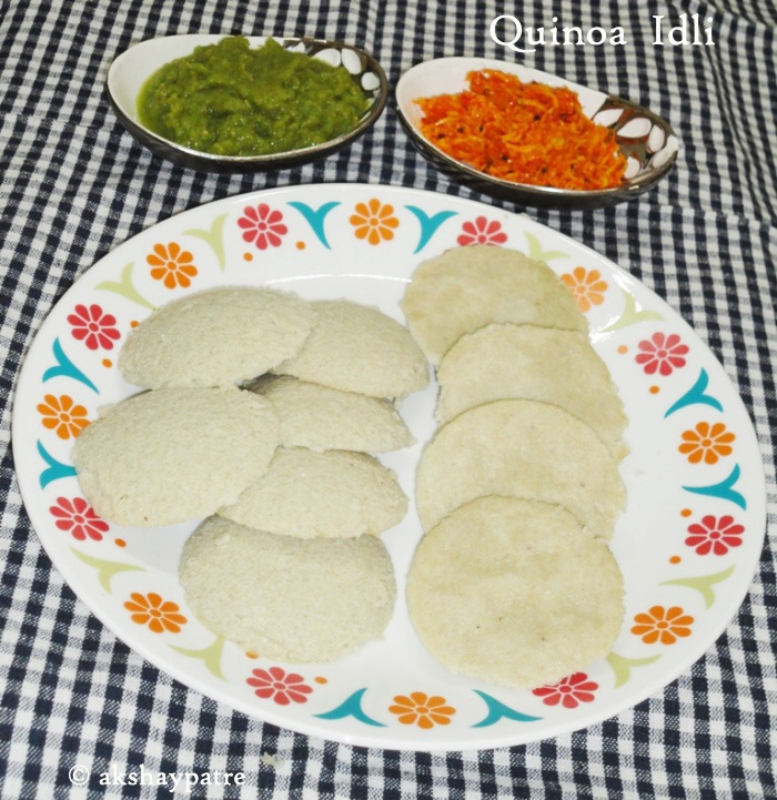 Quinoa idli in a serving plate