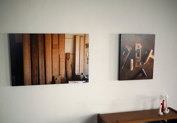 無垢の木と道具の写真パネル