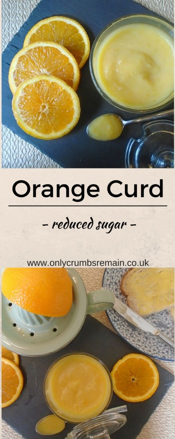 This recipe for low sugar orange curd is absolutely delicious.  It makes a lovely change to lemon curd.  It can be used to spread on toast in a morning, used in a ranges of bakes, or even given to a foodie as a homemade gift