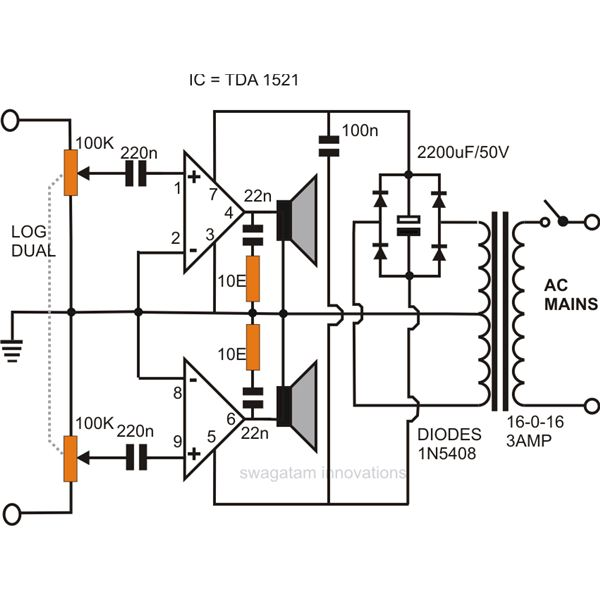 how to make a simple stereo audio amplifier circuit using ic 1521