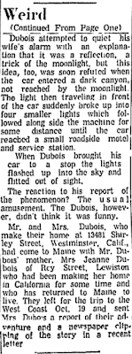 Car is Chased By Lights (-cont-) - Lewiston Evening Journal 11-9-1961