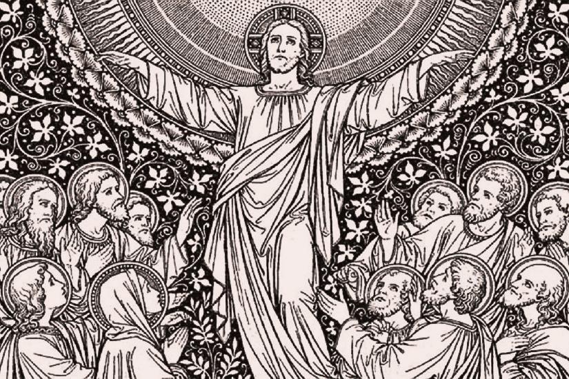 40 Hari Sesudah Kebangkitannya Tuhan Yesus Kristus Naik Ke Surga Burung Berkicau Kristiani Universal