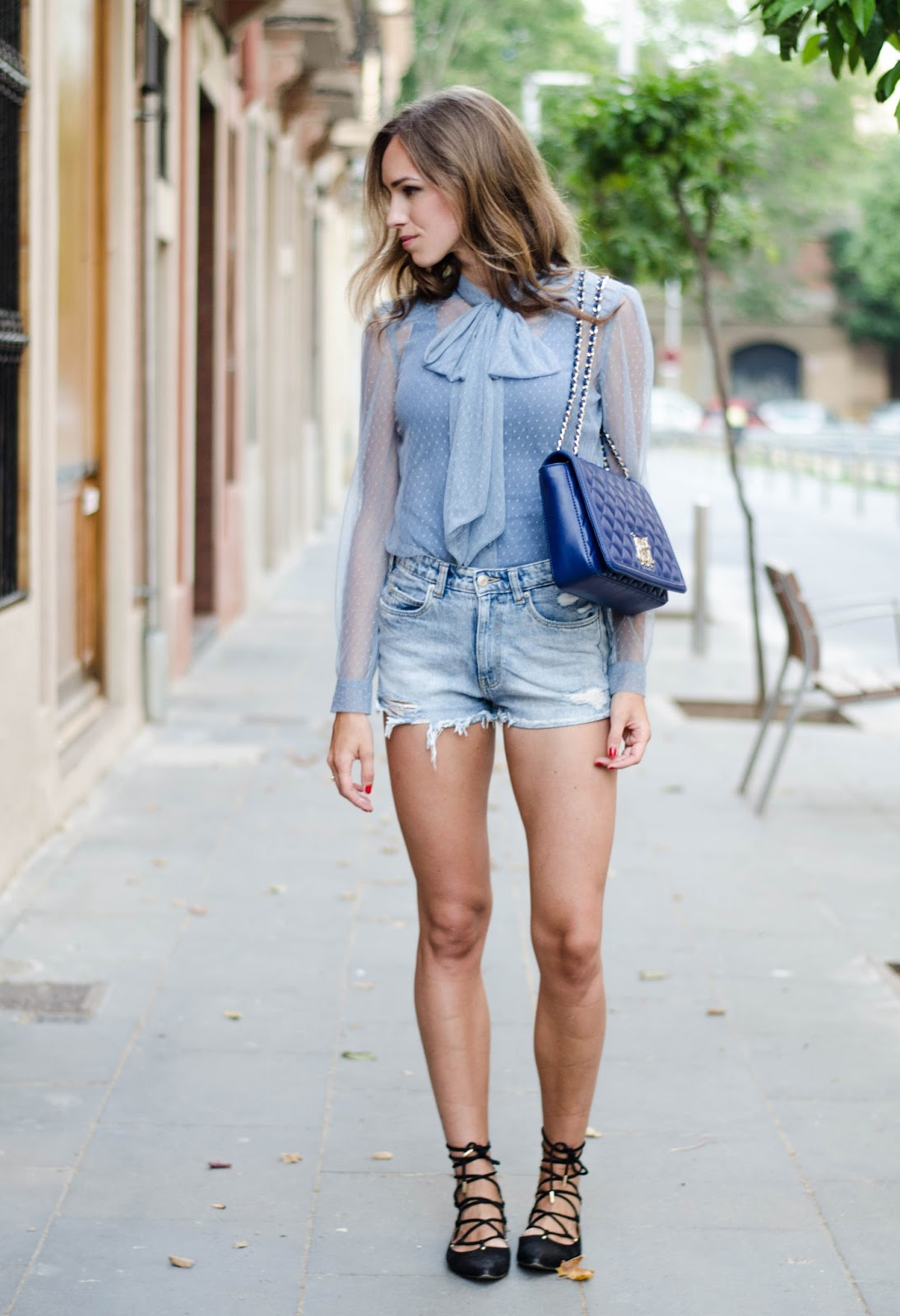 lost ink bow blouse zara shorts hm lace up shoes