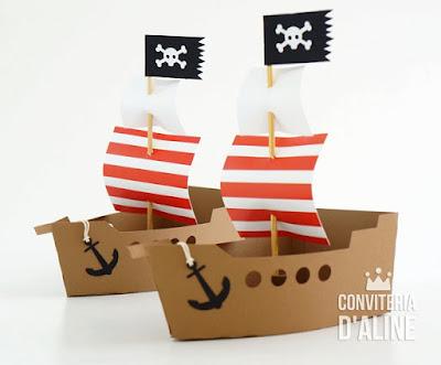 navio piratas festa topo bolo lembrança