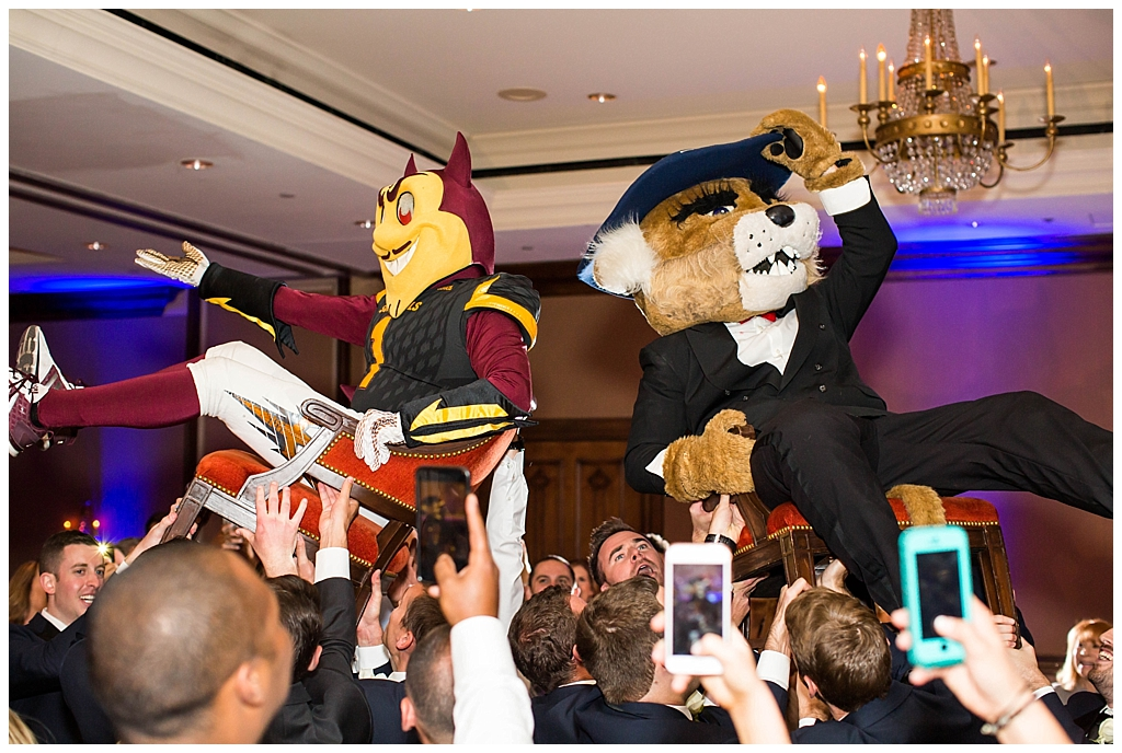 ASU Sparky mascot and UofA wildcat crashes ballroom wedding reception at Omni Montelucia