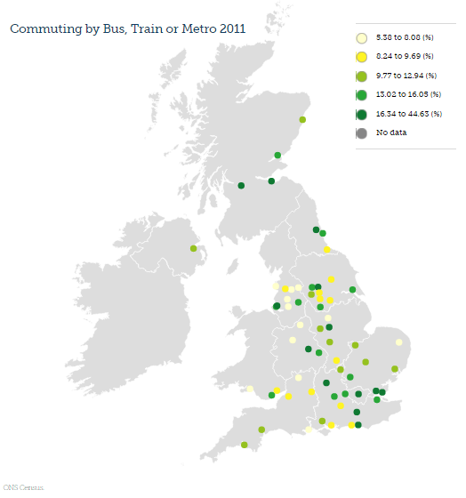 The dominance of London means more people use public transport in the south